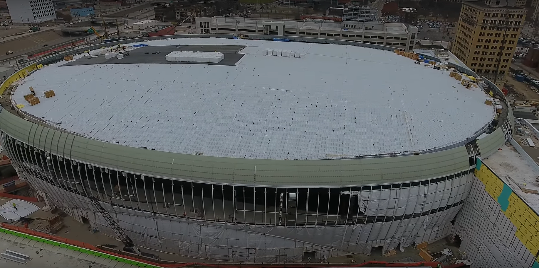 New drone footage shows progress on little caesars arena for Motor city casino little caesars